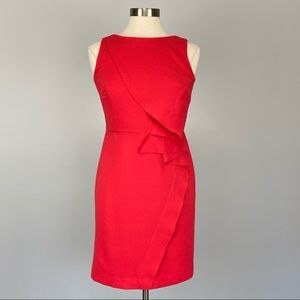 Ann Taylor Coral Sleeveless Ruffle Sheath Dress 4P